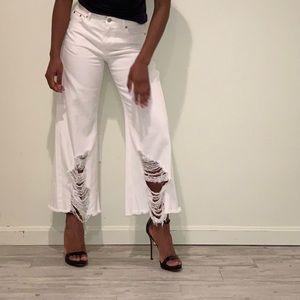 Denim - White Wide Leg Distressed Jeans